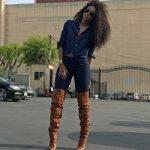 Ciara Wears A Denim-On-Denim Look & Saint Laurent Niki Leather Zip Over-The-Knee Boots