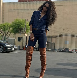 9e4f3f41ec6 Ciara Wears A Denim-On-Denim Look   Saint Laurent Niki Leather Zip Over-The-Knee  Boots