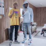 A-Boogie Wit Da Hoodie Styles In A Givenchy Distressed Logo Hoodie And Virgil Abloh's Off White x Air Jordan 1 V2 Sneakers
