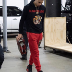 Memorial Day Weekend 2k18 Fashion: Basketball Player Jayson Tatum Rocks A Gucci Blind For Love Cotton Hoodie And Air Jordan 13's