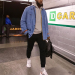 Memorial Day Weekend 2k18 Fashion: LeBron James Dressed In A Gucci Guccy Striped-Trim Denim Parka Jacket And Undercover Lab x Nike React Element 87 Sneakers