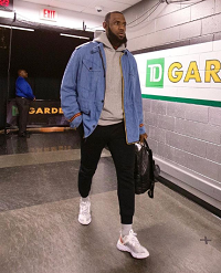 569d5d1325dd Memorial Day Weekend 2k18 Fashion: LeBron James Dressed In A Gucci Guccy  Striped-Trim Denim Parka Jacket And Undercover Lab x Nike React Element 87  Sneakers ...