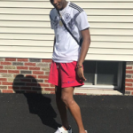 College Basketball Fashion: Jalen Carey Styles In Off-white x Champion Logo Printed Shorts & Gucci New Ace Embroidered Leather Trainers