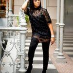 Monica Brown Wears A Gucci GG Leather Macramé Dress