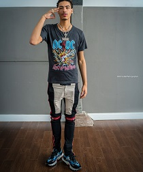 928229541b73 Jay Critch Rocks A Gucci Ac/Dc Print Tie-dye Cotton Tee-Shirt And Valentino  Garavani Bounce Leather, Suede & Mesh Sneakers