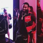 Meek Mill Spotted In An 8 Moncler Palm Angels Colorblocked Lacquered Down-Quilted Vest And Striped Lacquered Jogger Pants
