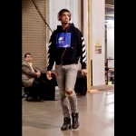 NBA Player Marquese Chriss Wears An Off-White Printed Fleece-Back Cotton-Jersey Hoodie