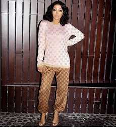 35aaba986 R&B/Soul Singer Monica Brown Styles In A Gucci Sweater With Crystal GG  Motif & Gucci GG Technical Jersey Track Pants