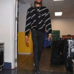 NBA Player Brandon Ingram  And Rapper Smooky Margielaa Spotted In A Balenciaga Jacquard Logo Crewneck Sweater
