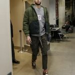 NBA Style: Ben Simmons Wears An Acne Studios Hunter Green Quilted Jacket, Givenchy Sweatshirt, And Rick Owens DRKSHDW Casual Pants