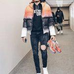 Tobias Harris Spotted In A Kru Statos Reversible Down Filled Hooded Jacket And Amiri Artist Broken Black Denim Jeans