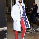 "NBA Player Chris Paul Styles In A Pyer Moss ""Stars"" Sherpa Lined Parka, Valentino Pantalone Jogging Pants & Air Jordan 1 ""Storm Blue"" Sneakers"