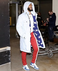 """141ddf45961cb7 NBA Player Chris Paul Styles In A Pyer Moss """"Stars"""" Sherpa Lined Parka"""