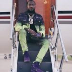 Passion For Fashion: Meek Mill Wears A MJB – Marc Jacques Burton x Will And Rich Pax Spray-Painted Denim Jacket & Crixus Spray Painted Cotton Denim Jeans