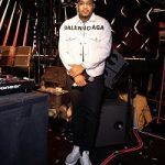 DJ Booth Wears A Balenciaga Front Logo Denim Jacket In Cement Grey