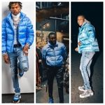 Celebs Style: Lil Baby, Meek Mill & Devin Haney Wore A $2,300 Dior Oblique Printed Down Puffer Jacket In Blue