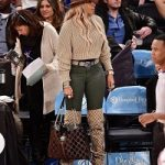 Mary J. Blige Carries A Gucci Rajah GG Velvet And Leather Tote Bag & Wears Gucci Original GG Over-The-Knee Boots