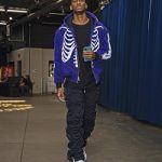 """NBA Fashion: Shai Gilgeous-Alexander Outfitted In A Warren Lotas Verified Purple """"Real Tree"""" Carhartt Skeleton Jacket & 99% IS Grey And Black Gobchang Lounge Pants"""