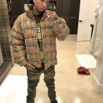 Tyga Styles In A Burberry Men's Checkdown Tape Coat