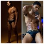 Models Joshua Terry And Jan Carlos Diaz Pose In A Pair Of Versace Greca Stretch Briefs