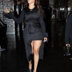 New York Fashion Week: Lala Anthony Wears An Off-White Asymmetric Wrap Dress