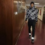 NBA Player Rui Hachimura Wears A Rhude All Over Hoodie & Off-White™ x Air Jordan 5 Sneakers