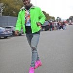 Deebo Samuel Wears A Givenchy Green Short Padded Coach Jacket And Balenciaga Pink Triple S Sneakers