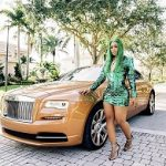 Trina's Instagram H&M x Balmain Green Plunging Sequin Mini Dress