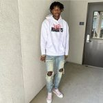 Jonathan Kuminga Photo'd In A Nav x Vlone Drip Pullover Hoodie And Dior B23 Oblique Canvas High Top Sneakers